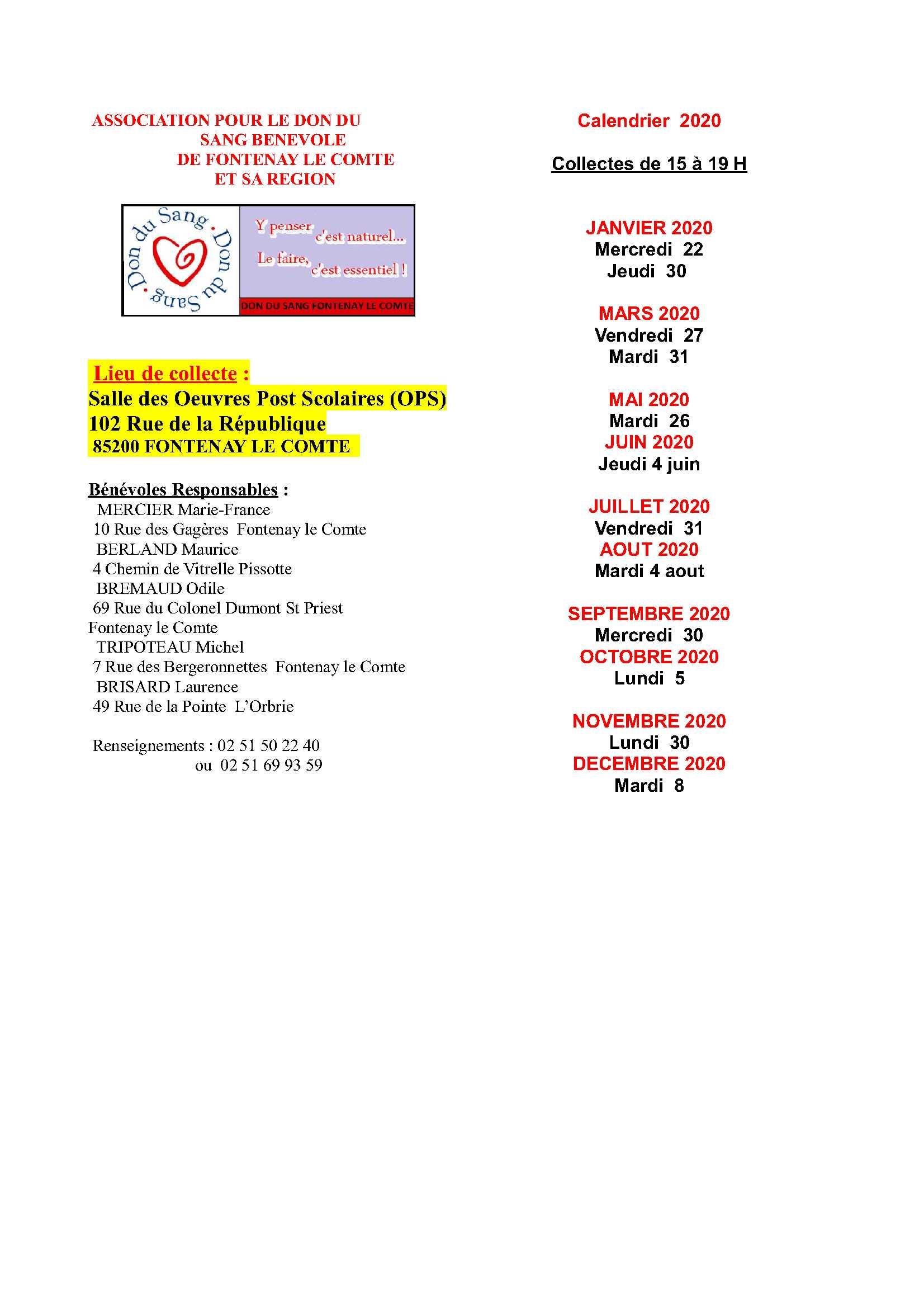 2020 calendrier collectes - don du sang